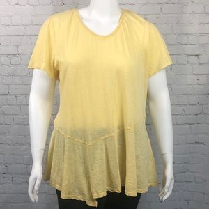 Style & Co Yellow Short Sleeve Tee Plus Size 2X